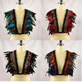 Natural lace & feather bra wings womans cage elastic harness top rave bra boho festival vest feather harness fetish wear O0311