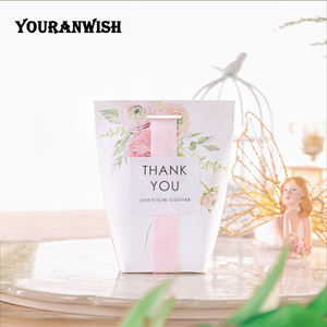 Image 3 - YOURANWISH DIY Customized Wedding Favors Upscale Gift Boxes Paper Baby Shower Favor Boxes pink flowers Candy Box 50pcs/lot
