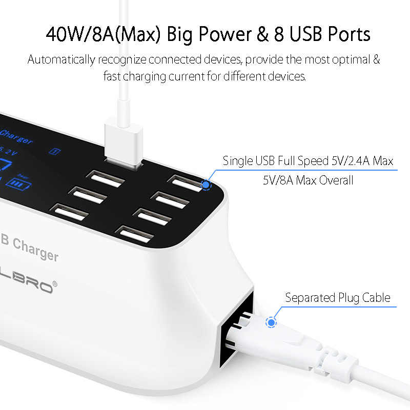 8 Port Wall Usb Hub Charger Adapter 8a Multiple Usb Charger For Mobile Phone Led Desktop Usb Charging Station Base Eu Us Uk Plug Mobile Phone Chargers Aliexpress