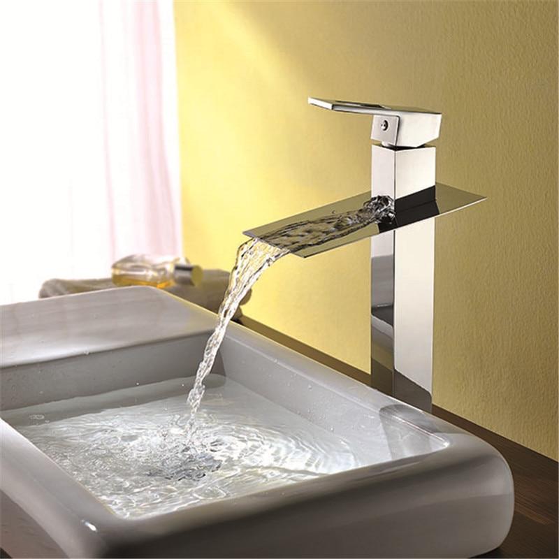 цена на Polished Chrome Brass Single Lever Waterfall Faucet Bathroom Lavatory Vessel Sink basin mixer tap basin faucet