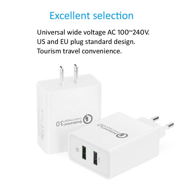 STOD Dubbel USB-laddare 30W Quick Charge 3.0 2.4A-port för IPhone - Reservdelar och tillbehör för mobiltelefoner - Foto 2