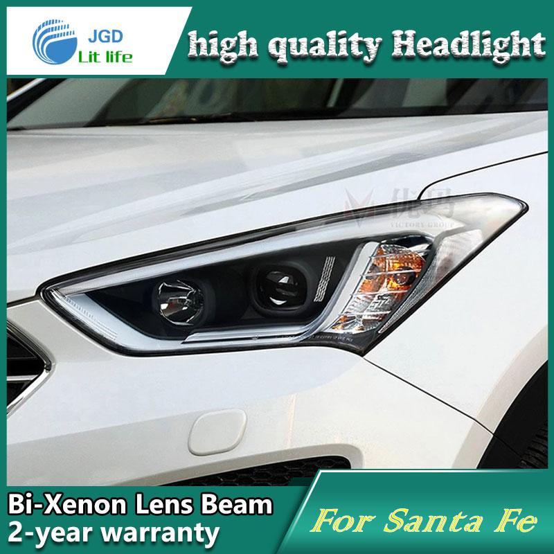 Car Styling Head Lamp case for Hyundai Santa Fe Headlights LED Headlight DRL Lens Double Beam Bi-Xenon HID Accessories