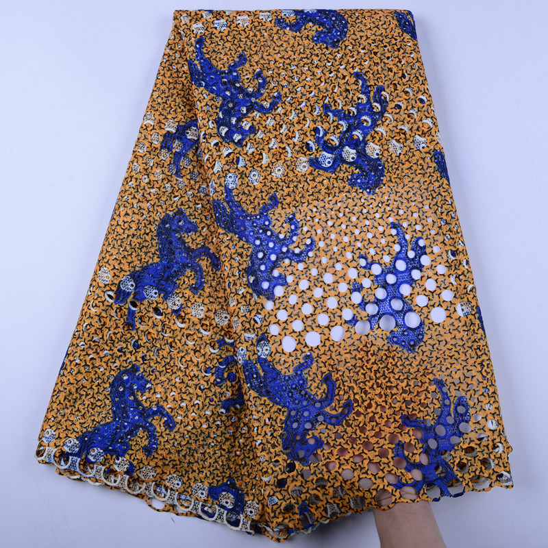 2019 High Quality Embroidery Guipure Water Swiss African Milk Silk Cord Soluble Print Lace Fabric For