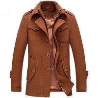 Новые зимние шерстяные куртки пальто Slim Fit Куртки мужские повседневные Теплая Верхняя одежда куртка и пальто человек плюс размер спортивны