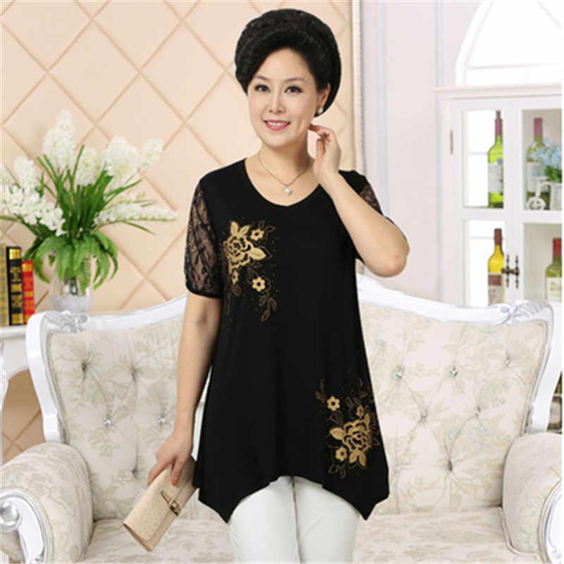 Di mezza età delle donne Del Merletto a maniche corte t-shirt estate più il formato super top loose women casual stampa t-shirt irregolare 518