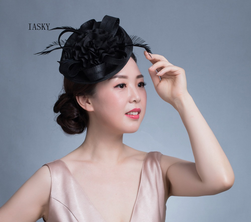 New Luxury Women Fascinator Headdress BIg Flower Feather Bride Headwear Hair Clip Fashion Race Dinner Party Derby Fascinator Hat