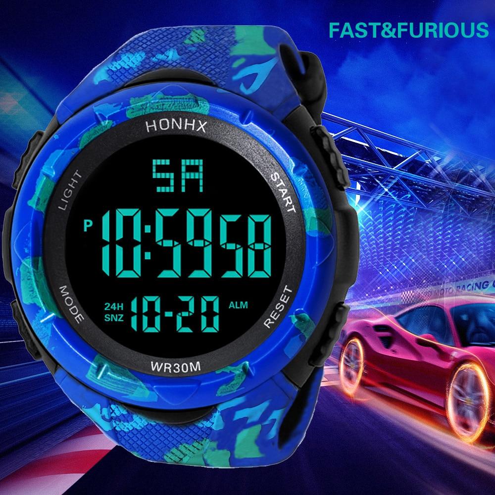 HONHX décontracté marque hommes montre LED étanche numérique Quartz montre de mode militaire Sport hommes horloge horloges vrouwen