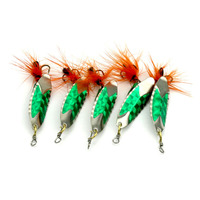Metal sequins feathers bait Fishing Spoon Metal Lure Bait with Composite Feather Treble Hook Tackle Sequins Artificial fishing