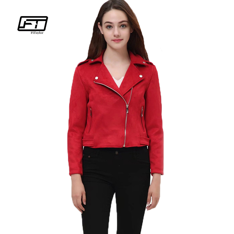 Fitaylor Women   Suede   Faux   Leather   Jackets Lady Gray Pink Red Outwear Spring Matte Motorcycle Coat Biker Punk Bomber Jacket