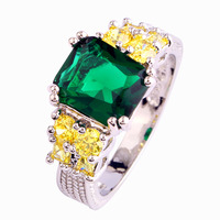 Saucy Women Rings Exalted Green Emerald Quartz 925 Silver Ring Size 8 New Fashion Jewelry  Wholesale Free Shipping