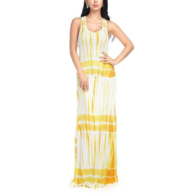 51c60df55522 Women Sexy Beach Dress Summer Maxi Boho Off Shoulder Casual Loose Dresses  Ladies Vestidos Yellow Blue Orange Pink