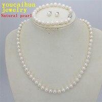 Новый 7-8 натуральный белый жемчужное ожерелье браслет серьги ожерелье Оптовая Ювелирные наборы Дамская Мода дизайна ювелирных изделий