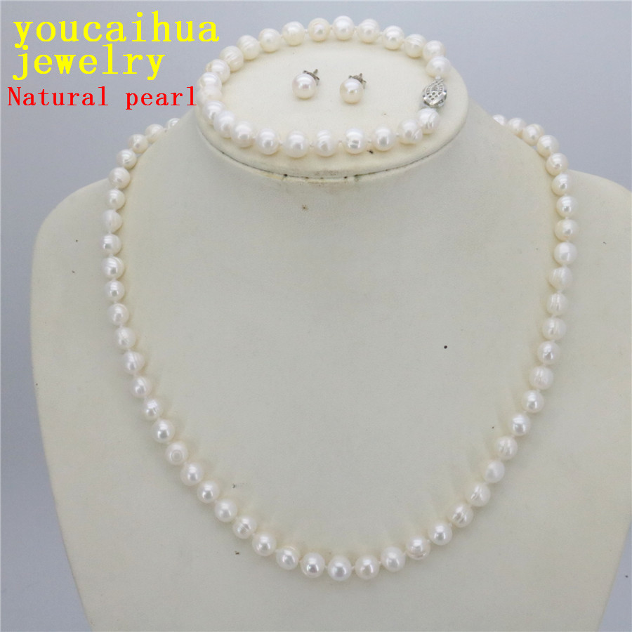 Cheap Pearl Necklace Sets: New 7 8 Natural White Pearl Necklace Bracelet Earring