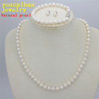 Free Hot New Beautiful Fashion Jewelry Natural 7 8mm Real White Cultured Pearl Necklace Bracelet Earring
