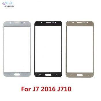 Перейти на Алиэкспресс и купить Сенсорный экран для Samsung Galaxy J7 2016 j710 J710F передняя внешняя стеклянная верхняя линза сенсорная панель экрана