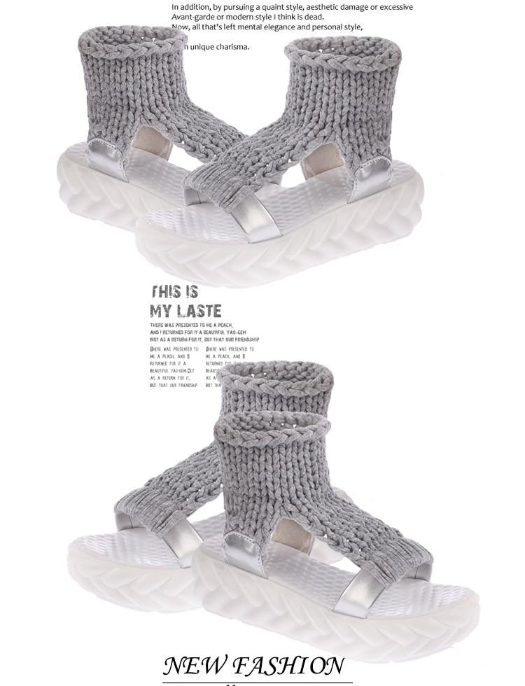 HTB1SaFsgNuTBuNkHFNRq6A9qpXa8 2019 New Casual Summer Shoes Women Comfortable Wool Ladies Platform Sandals Knit High Heels Grey Rose Red Sandales