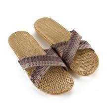 2019 Summer Grey cross Flax Slippers Home Shoes Linen Flats Women Silent Indoor Slipper
