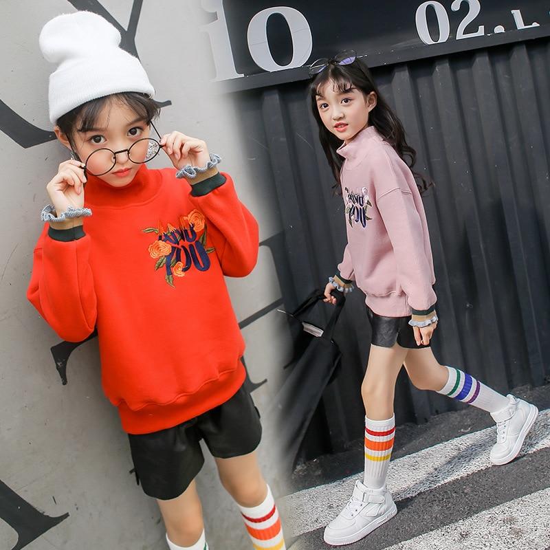 2018 New Children Hoodies Girls T Shirt Kids Fleece Thick Hoodie Long Sleeve Thick Sweatshirts Kid's Cartoon Girls Tshirt