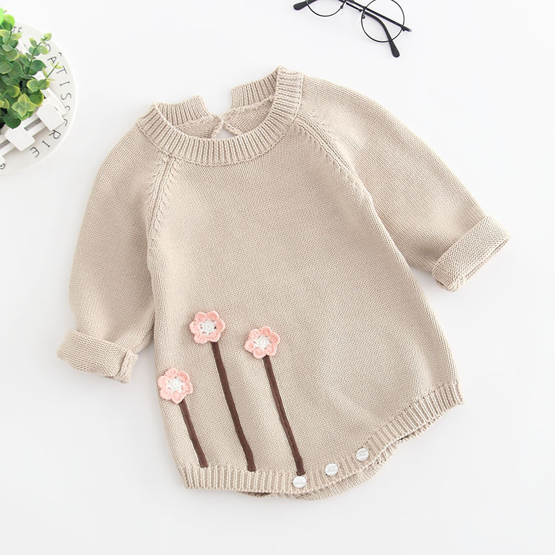 Spring Long Sleeve Newborn Baby Girls Jumpsuit Knitting Baby Girl Romper Hairball Baby Girl Clothes