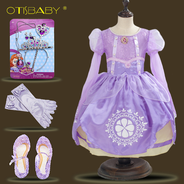 e69a883b45d73 US $9.63 22% OFF|Girls Rapunzel Dress Eveving Party Children Purple  Princess Sofia Dress Spring Summer Girl Long sleeve Tutu Dress  Accessories-in ...