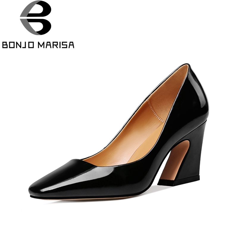 BONJOMARISA Genuine Leather 2018 Patent Leather Large Size 33-42 Slip On Hoof Heels Women Shoes Woman Pumps Shoes