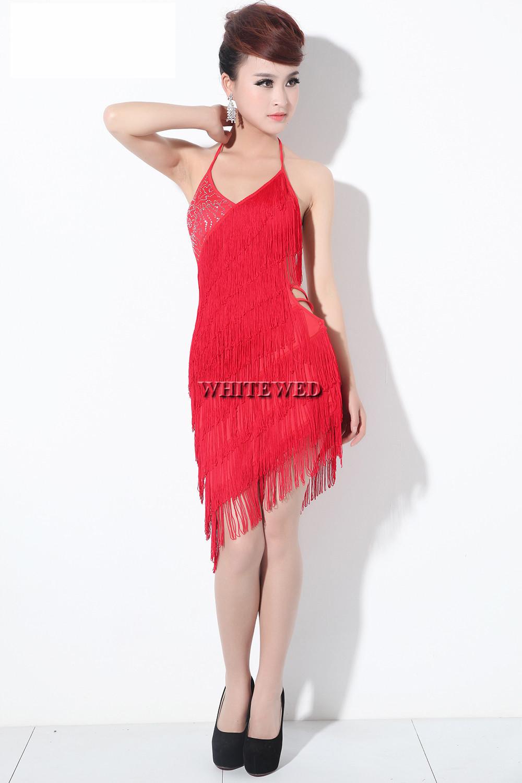 a62a6c6d7 Borla con flecos de lentejuelas V cuello Latino argentino Tango baile salsa  baile bailarín baile traje vestido negro rojo rosa descuentoDecir Sí mismo.