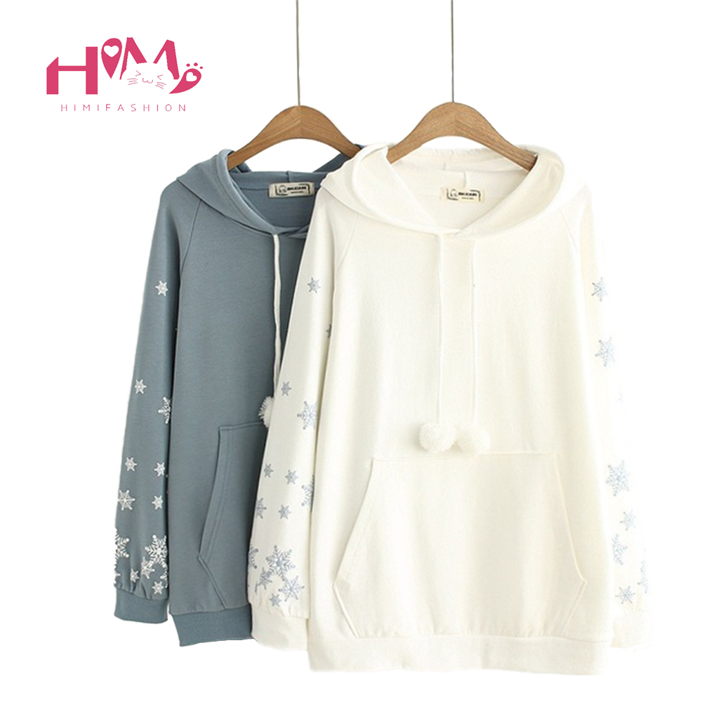 Autumn Mori Girl White Hooded Hoodies For Women Japanese Style Christmas Snowflake Pure  ...
