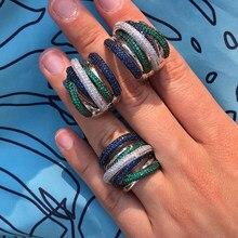 GODKI Luxus Twist Geflochtene Multicolor Volle Mirco Rosa Zirkonia Einstellung Europäischen Hochzeit Hoop Ohrring Mode Schmuck Set