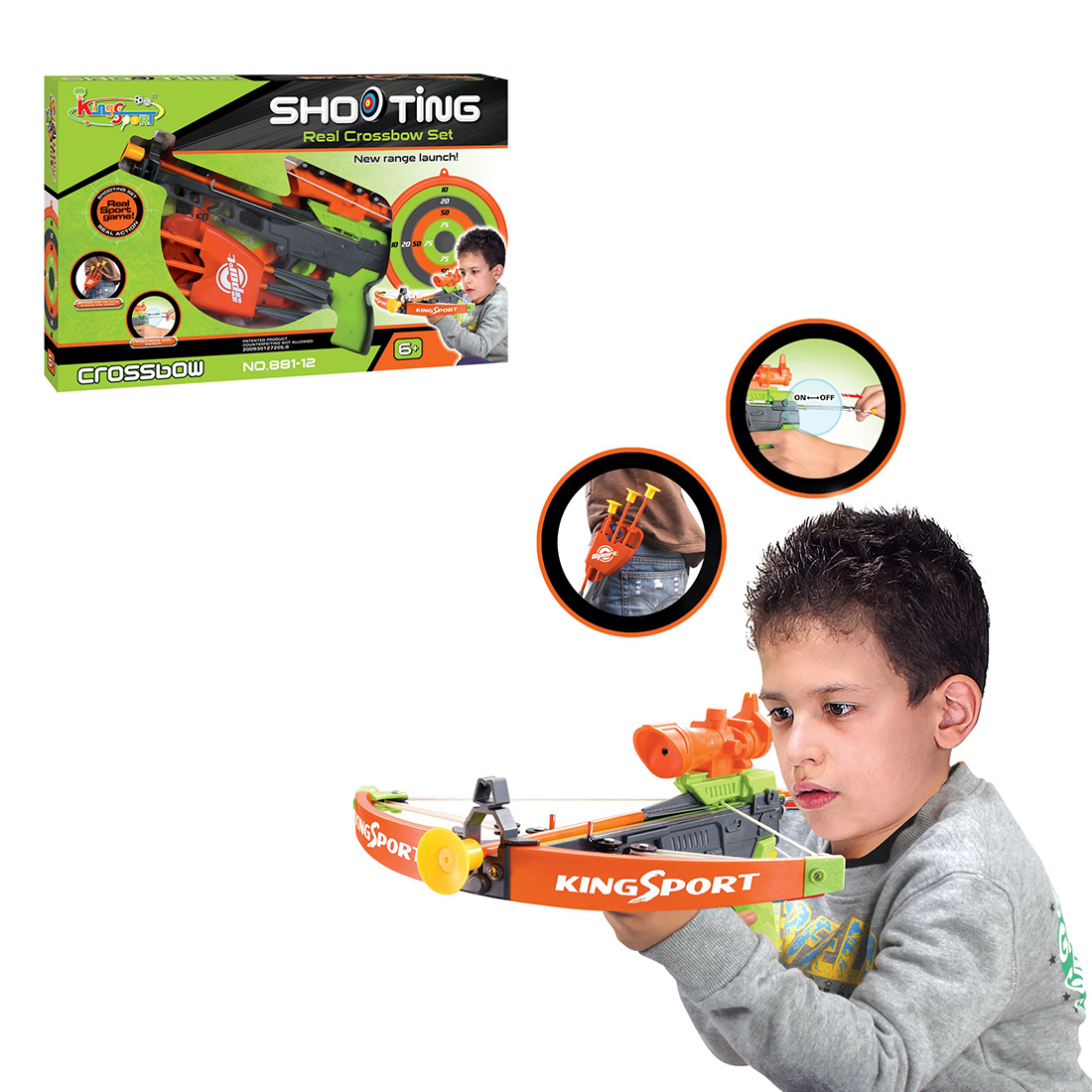 Surwish Children Outdoor Simulation Bow and Crossbow Set with Infrared Lamp Sports Shooting Toys