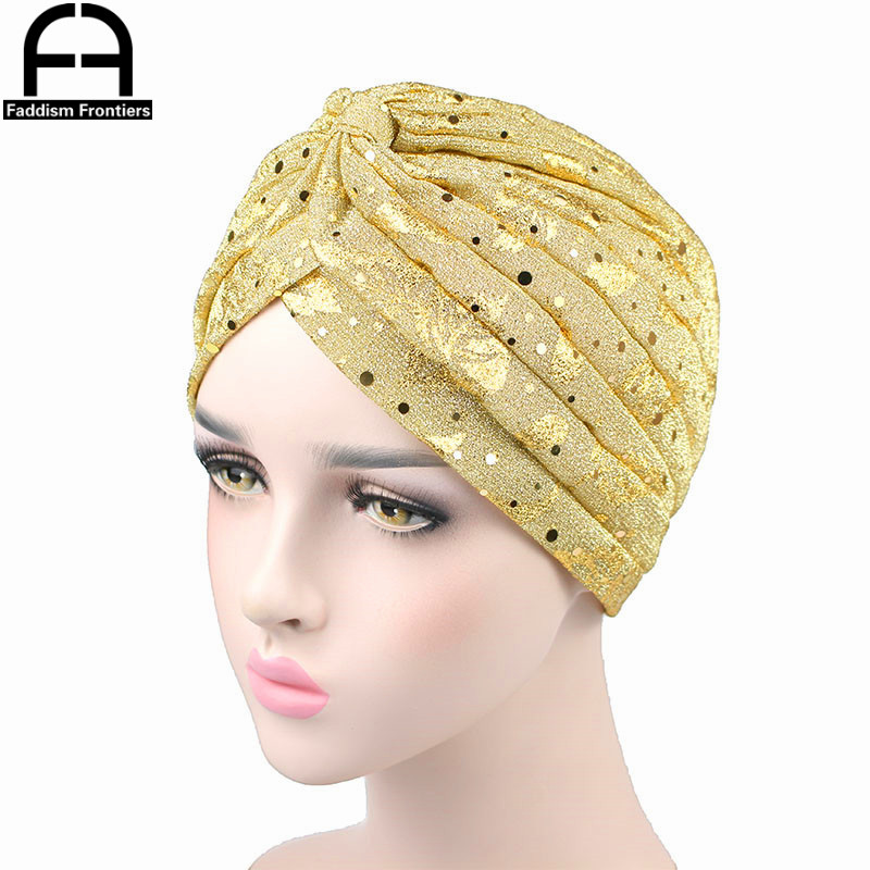 Fashion Women Turban Sparkly Shiny Print Hat Muslim Chemo Headwear Hair Cover Headband Accessories