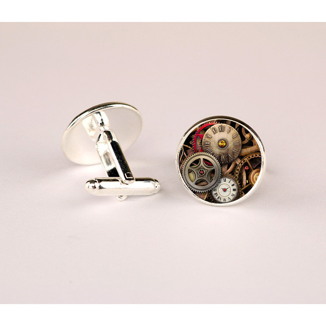 Doreenbeads Alloy Silver Bronze Cufflinks Antique Steampunk Cabochon Vintage Cuff Links Pair