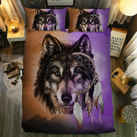dreamcatcher wolf lion animal twin king queen full double bedspread pillowcase duvet cover set bedding set