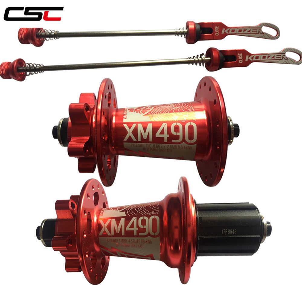 Koozer XM490 الحاملة مختوم MTB الدراجة الجبلية محور سريعة الإصدار مجموعة الدراجة محور 32 حفرة القرص الفرامل الظهور المحور QR دراجة محاور