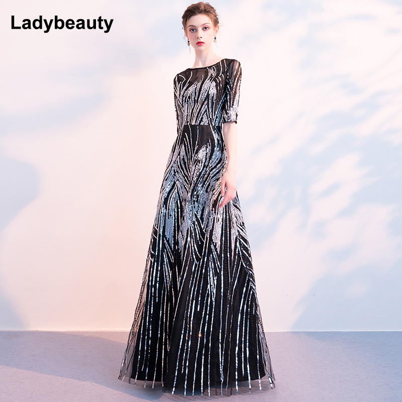 Ladybeauty 2019 Evening Dress With Sequins A Line Half Sleeves Formal Dress Evening Party Gown Occasion Dresses Robe De Soiree