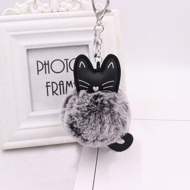 Mulheres pom pom Pompom Fofo coelho gato Chaveiro llavero chaveiro Bola de Pêlo de Coelho Saco Chaveiro Pompom sleutelhanger Porte clef