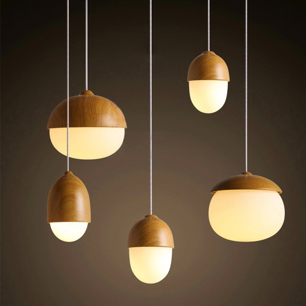 aliexpresscom buy modern diy decorative pendant light nut egg shaped bar cafe bedroom lamp multi types imitation fixtures wood glass pendant lamp from - Multi Cafe Decoration