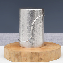 Pure Silver Portable Tea Cans Hammered Semi-manual Foot 999 Sealed Household Size