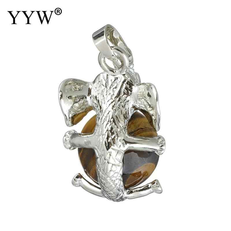 YYW Punk Natural Gems Đá Mặt Dây Nữ Nam Trang Sức Đáng Yêu Elephant 3D Động Vật Thạch Anh Jaspers Agata Tiger Eye Đá Mặt Dây