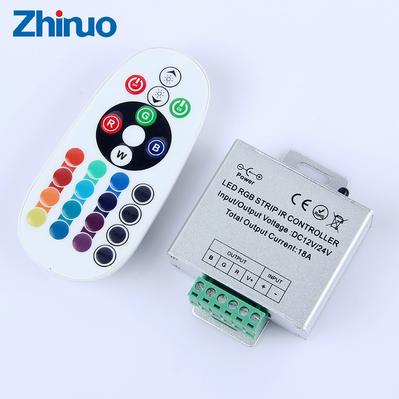 IR Controller For LED RGB Strip With Remote Control Panel DC12V 24V Connection Wire 18A 36A Neon RGB LED Strips Controllers
