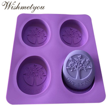 WISHMETYOU 4 Holes Square Silicone Soap Mold 3D Oval Tree Shaped Cake Molding Chocolate Decorating Tools Handmade Craft DIY