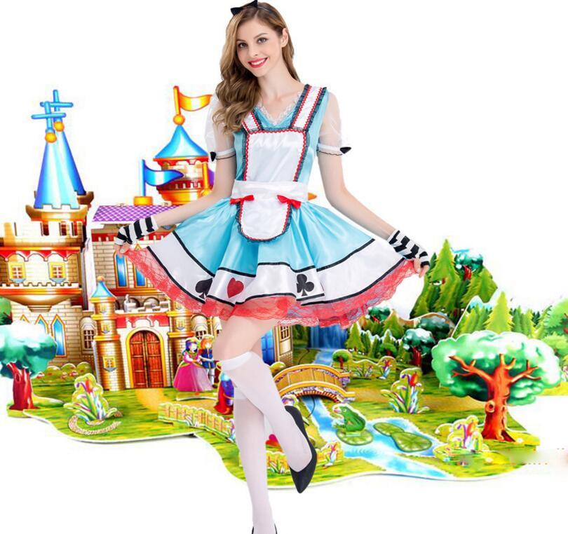Большие размеры XL Алиса в стране чудес костюм Для женщин фантазии Хэллоуин Алиса платье горничной костюм Косплэй наряд с фартук Синий