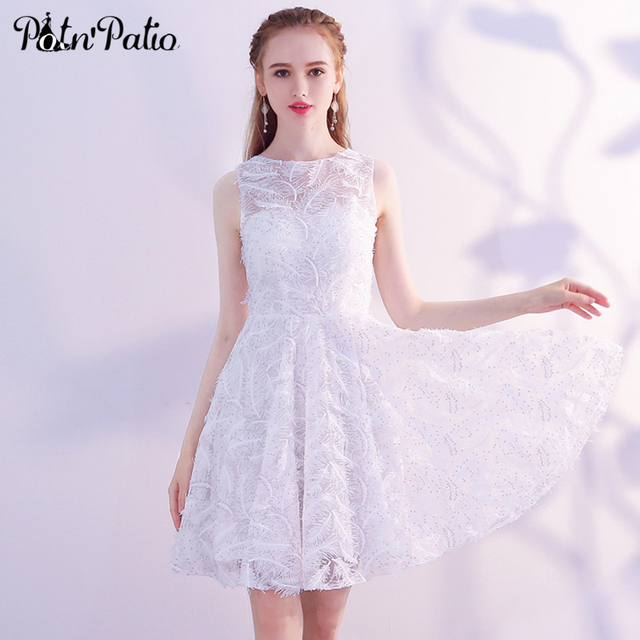 b6dfd2a3bec White Tulle Short Prom Dress Sexy Sleeveless See Through Feather Sequin  Mini Formal Dresses Elegant Special Occasion Dress