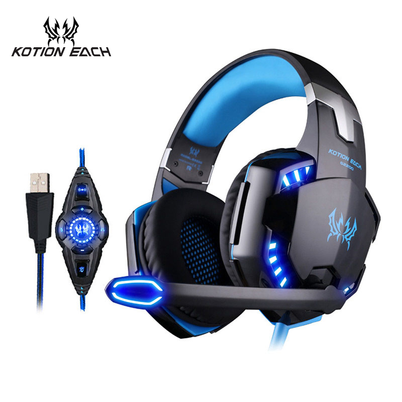 EACH G2200 Vibration Gaming Headset 7.1 PC casque Gaming Gamer Headset Surround 7.1 Headphone USB With Microphone For Computer sades r1 usb 7 1 surround stereo sound vibration gaming headphone with microphone led light pc gamer gaming headset for computer