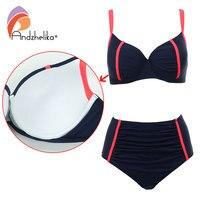 Andzhelika New Women Swimsuit Plus Size XL 4XL Bikini Sexy High Waist Beach Swimwear Fold Patchwork