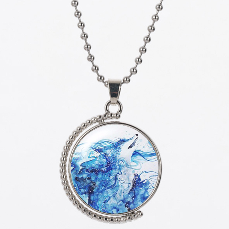 CAN24 werewolf resin round shape 25mm 925 silver women and man good quality necklace