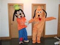 Оптовая Продажа взрослых Размеры плюшевые Гуфи собак и Плутон Маскоты костюмы Косплэй мультфильм платье USPS Бесплатная доставка