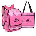 2016 NEW Charm in hands pink color School Bag Children nylon School Backpacks Set bow Princess Girl Backpacks High Quality