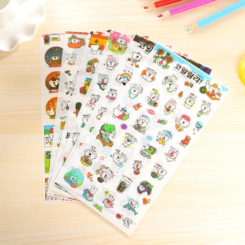 6 PCS Cute Cartoon Transparent Koala Diary Notebook Stickers Korea Stationery Children 's Phone Decoration Stickers