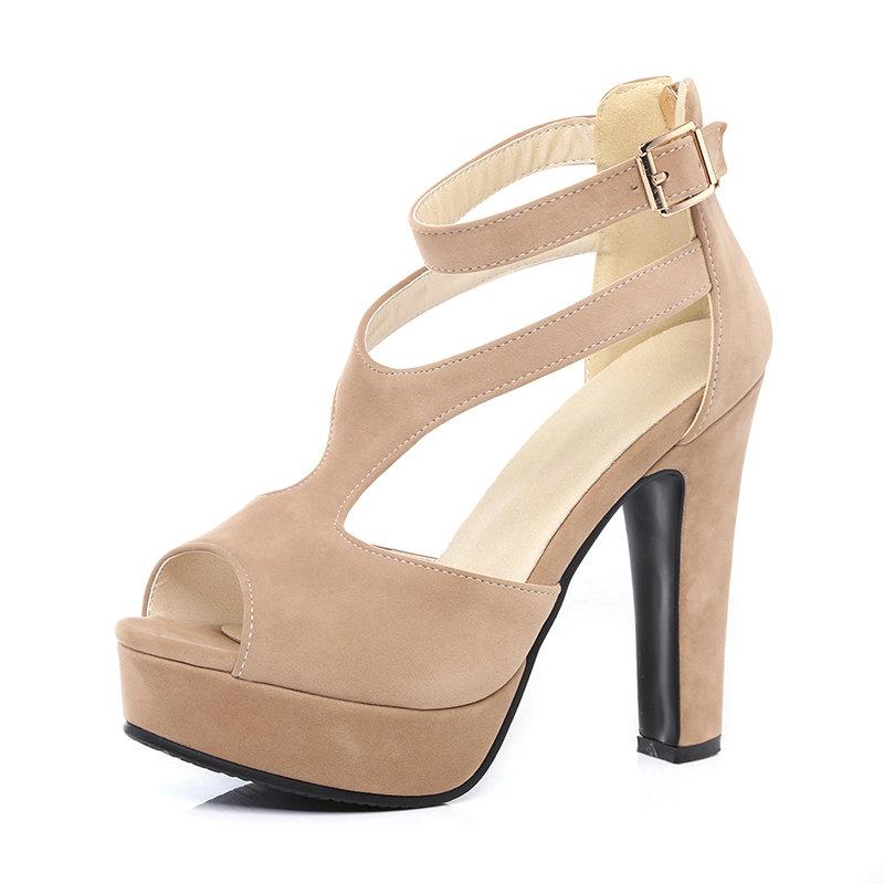 QUTAA 2017 Women Pumps Summer Black Ladies Shoe Square High Heel Peep Toe PU Leather Zipper Woman Wedding Shoes Size 34-43 16