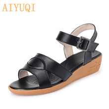 AIYUQI Sandals female 2019 summer new genuine leather wedge sandals student plus size 42 43 shoes